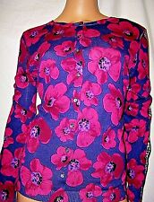 NWT LORD & TAYLOR PLUS SIZE 1X NAVY FUSCHIA FLORAL & PLAID CARDIGAN SWEATER