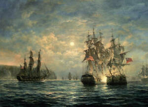 Dream-art Oil painting seascape war ship The United British and American fleet