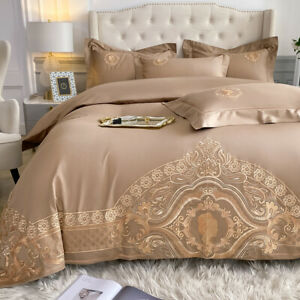 Luxury pure cotton embroidered duvet cover bedding set 4pcs bed sheet pillowcase