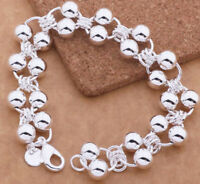 "925 Sterling Silver Large 8"" Beaded Link Chain Bracelet +GiftPkg D295H"