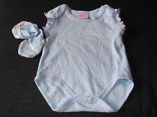 Bebe Bonito 100%Cotton S/Sleeve BodySuit & Mitts 3-6mths 68cm Blue Mix BNWoT