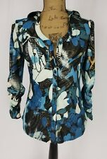 PETER NYGARD Multi-Colored Floral Print 3/4 Sleeve V-Neck Blouse Women's SZ S