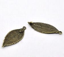 6 Pc Antique Bronze Leaf Charm Pendants/ Connectors 35x13mm LC2837