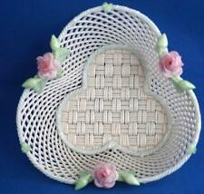 Vintage Belleek Irish Porcelain Flower Encrusted  Basket