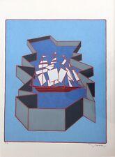 """Francesco Casorati. """"La nave"""". Serigrafia originale. Anni '80"""