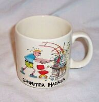 "VINTAGE JOHN LAMB COMPUTER HACKER COFFEE CUP MUG GREAT GRAPHICS 3 7/16"" TALL"