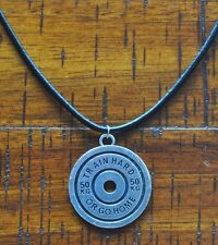 Barbell Weight Plate Pendant Leather Necklace Train Hard Bodybuilding Muscle