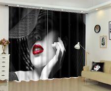 2Panels 3D Fancy Hat Woman Girl Print Blockout Mural Drape Curtain Fabric Window