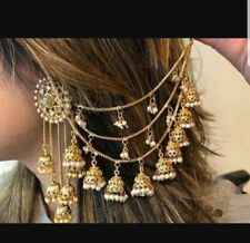 Stunning Gold Stone Indian Ear Cover Chain sahara Jhumka Earrings pair-