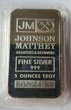 "ONE (1) JOHNSON MATTHEY 5 OZ 0.999 FINE SILVER BAR  ""SEALED"""