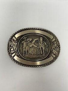 Award Design Medals Solid Brass Rodeo Steer Wrestling Belt Buckle