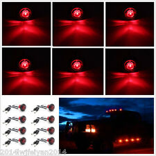 "8X 3/4"" Red LED Clearance Marker Bullet Lamp Car Truck Trailer Side Marker Light"