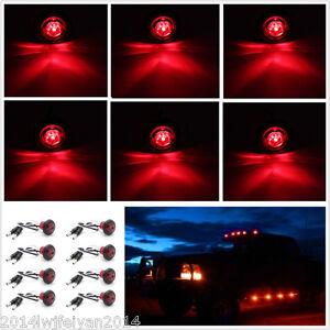 "8X 3/4"" Red LED Clearance Marker Bullet Lamp Car Truck Trailer Side Marker Light"