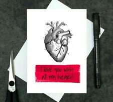 anatomical heart Valentine's Day card - anniversary card - I love you card