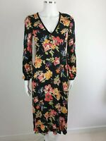 Zara Black Floral Casual Smart Party Occasion Midi Dress Size S UK Size 10