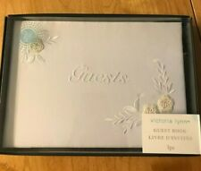 Victoria Lynn Guest Book with white embroidery design - 60 Signature Pages NIB
