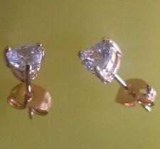Butterfly Fastening Heart Sapphire Fine Earrings
