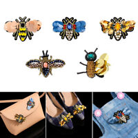 Rhinestone Embroidery Sew on Patch Crystal Applique Bee Badge Sequin Patches