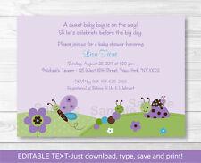 Baby Bugs Ladybug Butterfly Purple Printable Baby Shower Invitation Editable PDF