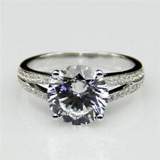 2.00 Ct Round Cut Diamond Engagement Ring 14K White Gold Wedding Rings Size 13