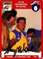 ✺Signed✺ 1991 WEST COAST EAGLES AFL Card STEVE MALAXOS