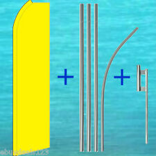 Solid Yellow Flutter Flag + Pole Mount Kit Tall Wind Feather Swooper Banner Sign