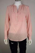 Michael Kors Womens M Medium Blouse Orange Stripes Career Long Sleeve Shirt New