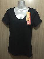BNWT Ladies Sz 12 Rivers Brand Black Short Sleeve V Neck Trim Fit T Shirt Top