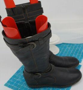 Born/ B.O.C. Size 10M Virginia Black  Wide Tall Calf Riding Boots Buckles