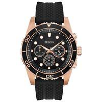 Bulova Men's Quartz Chronograph Rose Gold Case Black Band 44mm Watch 98A192