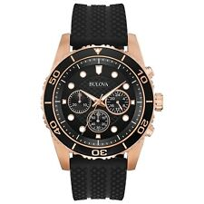 Bulova Men's Quartz Chronograph Rose Gold Case Black Band 44mm Watch 98A192