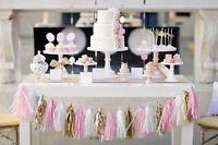 5 Tissue paper tassel garland Rose Gold foil party wedding baby shower UK STOCK