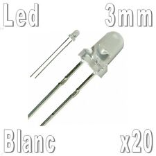 20x Led 3mm Blanches 16000mcd