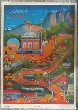 """Haji Malang 14.5""""x20"""" 1960s - India Hindu Gods VINTAGE PRINT - Tube Shipping"""
