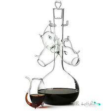 Port Sipper Glasses & Port Decanter Set -Glass Port / Brandy Decanter Gift Boxed