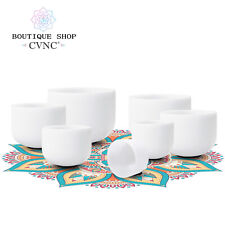 CVNC 8-12'' Chakra Set of 7pcs Note Frosted Quartz Crystal Singing Bowl 440Hz
