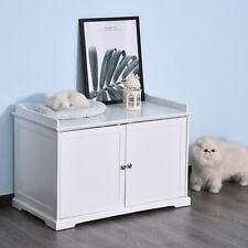 New listing Pawhut 2-in-1 Cat Hidden Litter Box Washroom Storage Bench Home Decor White