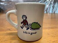 Life is Good Jake Christmas Tree on Sled Mug Coffee Tea Cup Ceramic