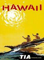 Hawaii Outrigger Hawaiian Vintage Travel Advertisement Art Poster Print