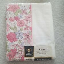 Fieldcrest Full Flat Sheet NOS Melody 81 x 108 Floral Pink Made in USA Vintage