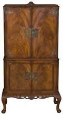 Queen Anne Vintage Antique Style Walnut Bar Liquor Cocktail Drinks Cabinet Locks