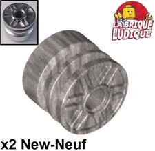 Lego - 2x roue jante wheel 18mm D. x 14mm Pin Hole metallic silver 55981 NEUF