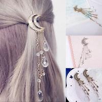 Elegant Moon Crescent Hair Clip Natural Crystal Pendant Hairpin Fashion Tassel