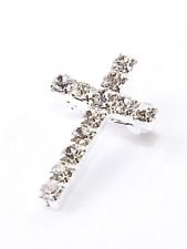 large rhinestone cross Brooch Jewellery Badge pin Costume Gift Ladies present