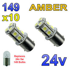 10 x Amber 24v LED BA15s 149 R5W 13 SMD Number Plate Interior Bulbs HGV Truck