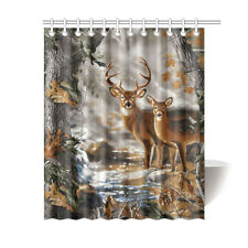 Custom Waterproof Fabric Bathroom Deer in the Forest Shower Curtain 60x72 IN