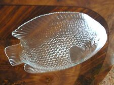 """CLEAR GLASS LARGE SERVING PLATE FISH SHAPED 15"""" X 12"""""""
