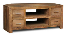 CUBE NATURAL SHEESHAM WOOD CORNER TV UNIT (C25N)
