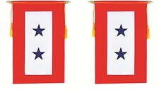 """Two Blue Star Service Military Double Sided Flag 9""""x14"""" Window Hanging Banner"""