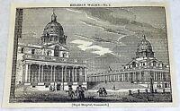 1832 magazine engraving ~ ROYAL HOSPITAL, GREENWICH ~ exterior view